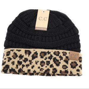 Black & Cheetah Leopard Print CC Beanie